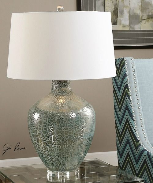 Heavily Textured With A Frosted Glass Iridescent Silvered Finish This Gorgeous 30 Quot Tall Crackled Aqua Silv Grey Table Lamps Rustic Table Lamps Table Lamp