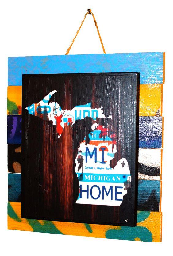 Mixed Media Assemblage Art - MI w/ License Plates
