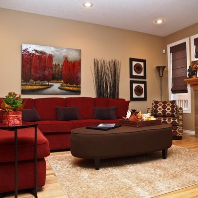 Red Sectional in living room. Different color scheme though!