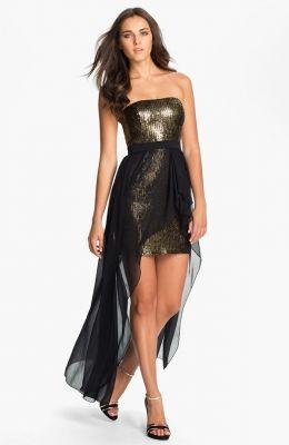 High/Low Chiffon Overlay Sequin Dress