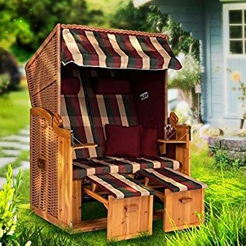 Mobelcreative Strandkorb Ostsee Xxl Volllieger 2 Sitzer 120 Cm Breit Burgund Rot Grun Inklusive Schutzhulle Ideal Fu Custom Bed Outdoor Decor Burgundy Red