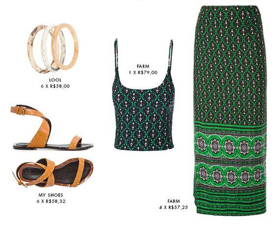Look para o calorzão que ainda está aí.. saia longa e top cropped com sandália rasteira bege.. para um estilo despojado, fresquinho e super atual! Verde e bege é uma ótima combinação de cor também.. Gostam? Saia tem aqui: http://bit.ly/1RTZYkX  top tem aqui: http://bit.ly/1TUNyPQ e os acessórios aqui: http://bit.ly/1R5jeON http://bit.ly/1pz9qnu