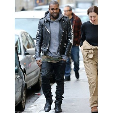Kanye West Wears Custom Yeezus Saint Laurent Motorcycle Jacket Fashion Fashionista Fashionblogger Mens Fashion Edgy Hipster Mens Fashion Mens Fashion Casual