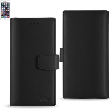 Reiko Genuine Leather Hidden Wallet Case For Iphone 6/ 6S Plus 5.5Inch With Rfid Shielded Card Slots-Black