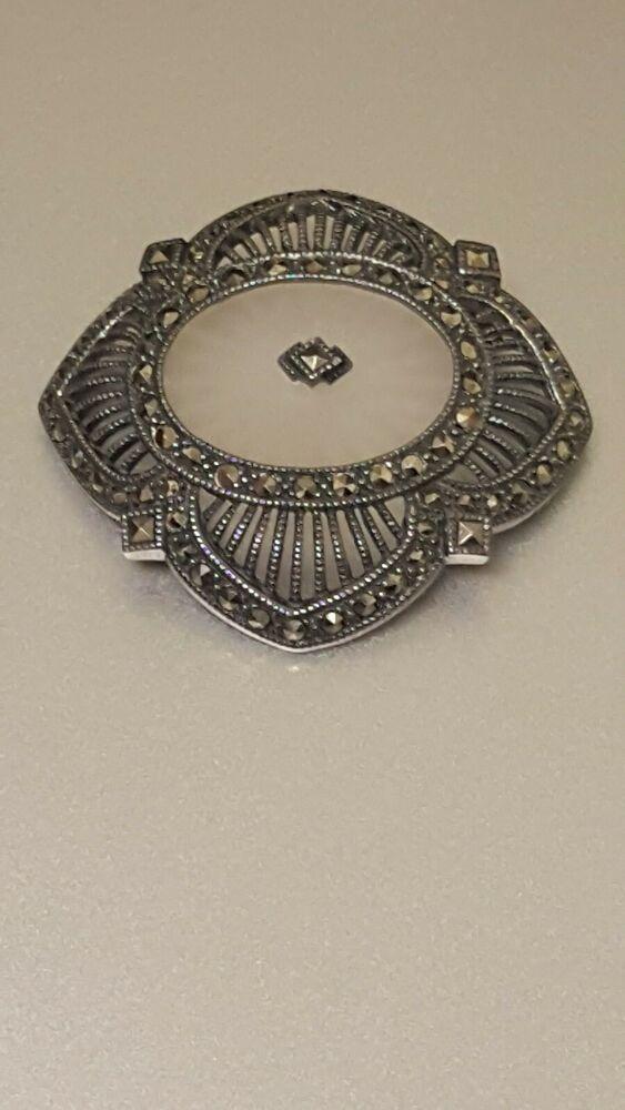 Intricate CAMPHOR GLASS Sterling SILVER Vintage 925 /& Marcasites Art Nouveau Brooch Pin Women/'s Estate Fine Jewelry