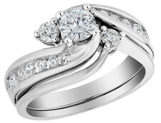 interlocking engagement ring and wedding band set