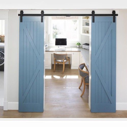 Yeshom 10 Ft Sliding Barn Door Track Set Anti Jump For Double Wood Doors W Hardware Roller Antique Style B In 2020 Double Doors Interior Barn Door Handles Barn Door