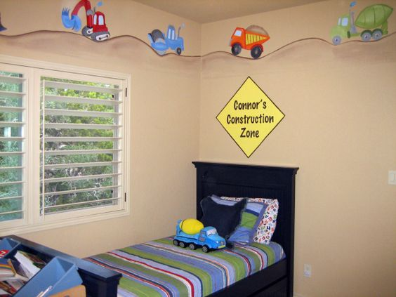 Construction room i love this up at the top g 39 s big for Boys construction bedroom ideas
