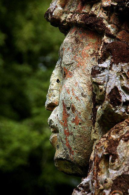 Statue at the Mayan ruins in Copan, Honduras.