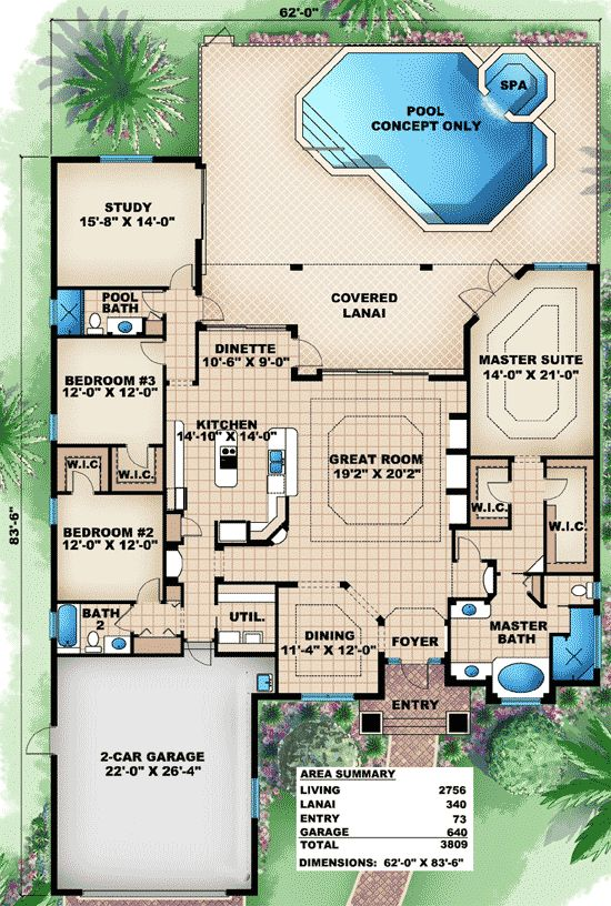 Plan 66283we great family home plan 3 car garage for Florida house plans with pool