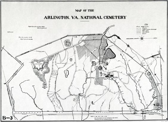 For Memorial Day:  Updated 1901 Map of the Arlington National Cemetery aftermoving of the Confederate dead into their own section. Annotated on original map: From Report on the re-burial of the Confederate dead in Arlington Cemetery by the Charles Broadway Rouss Camp No. 1191, United Confederate Veterans of Washington. Washington. 1901. E641.U57. - Official.  Oriented with north to the right. Fully explore the map at http://zoom.it/soe5