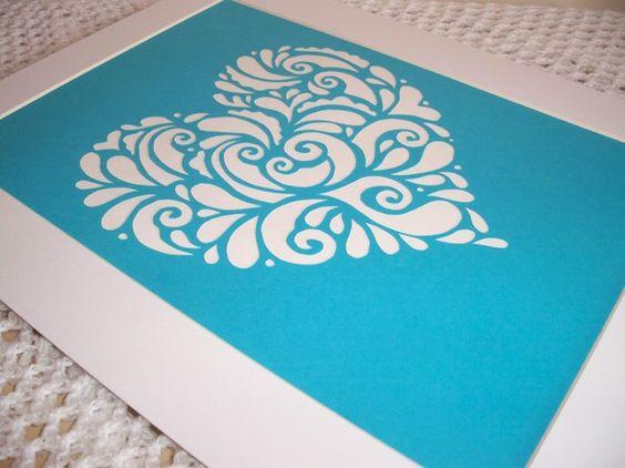 Papercut 'Swirly Heart' in Kingfisher £12.00 from Crafty Little Gems
