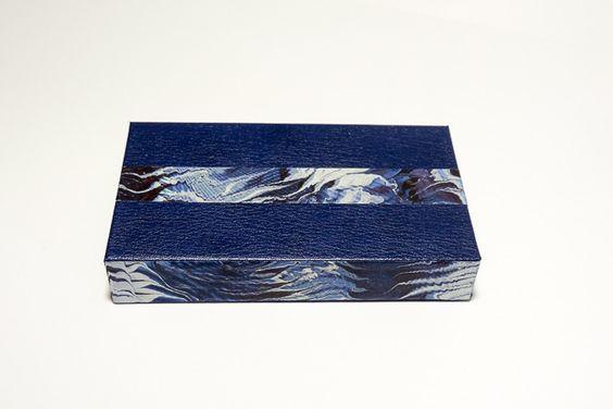 coffret cadeau / boîte de rangement pour homme couleur bleue et papier marbré : Boîtes, coffrets par les-fantaisies-vagabondes