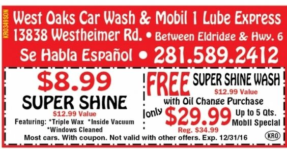 West Oaks Car Wash & Mobil 1 Lube Express Coupon - $8.99 Super Shine Car Wash