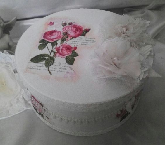 A hat box/storage box that is have painted and decoupaged with a beautiful napkin. It have added lots of trims and lace also two of my handmade flowers.  https://www.etsy.com/uk/listing/241414886/a-cottage-chic-hat-box-storage-box?ref=shop_home_active_1