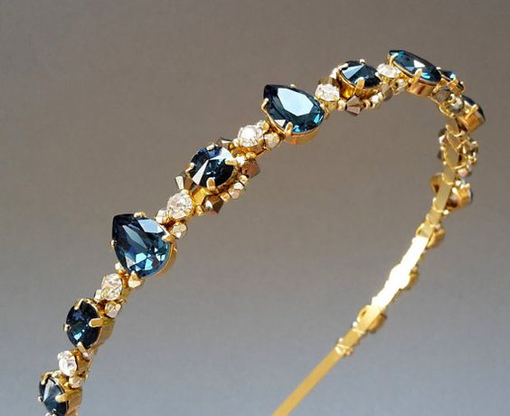 Dark blue Swarovski headband Montana Blue wedding by ZTetyana