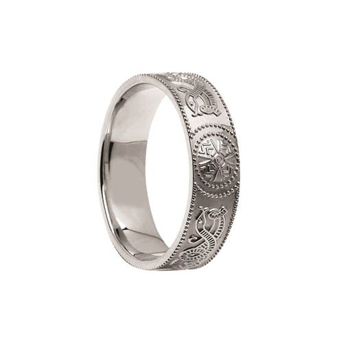 Celtic Warrior Ring 10mm White Gold With Trim C 3295 1 Celtic Rings Warrior Ring Celtic Knot Ring Mens