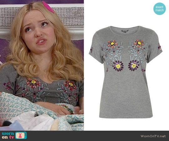 Liv's grey embellished top on Liv and Maddie.  Outfit Details: http://wornontv.net/53717/ #LivandMaddie