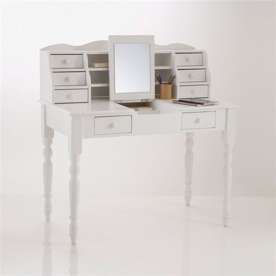 bureau coiffeuse pin massif authentic style coloris blanc. Black Bedroom Furniture Sets. Home Design Ideas