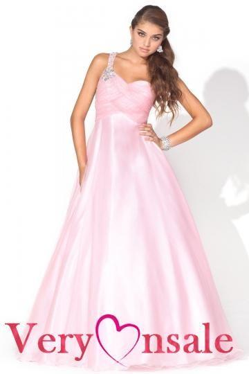 one shoulder pink prom dresses