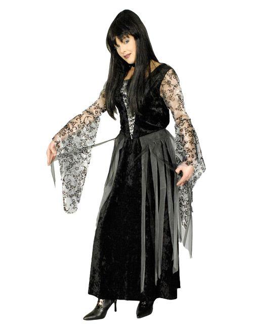 Hexe Zauberin Vampirin Samtornamente Halloween Damenkostüm schwarz-grau - Artikelnummer: 538200000 - ab 34.90EURO - bei Karneval-Megastore.de!