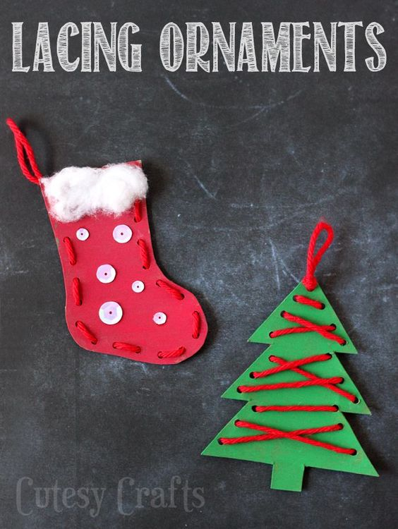Kids can practice their lacing skills with these fun Christmas ornaments, cute and easy to make!