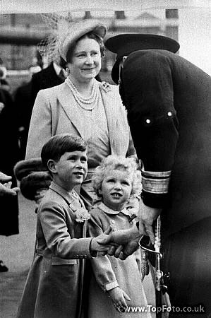 Queen mum with Prince Charles and Princess Anne 1954.  Boarding  the new royal yacht Britannia.