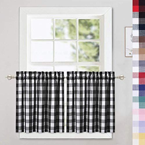 Rooster chicken and black and white gingham 52  inch window valance