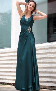 vert foncé des robes à volants partie v-cou Robe De Gala Fille