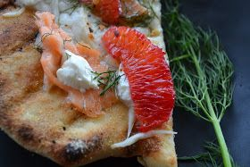 Grilled pizza with fennel and blood orange