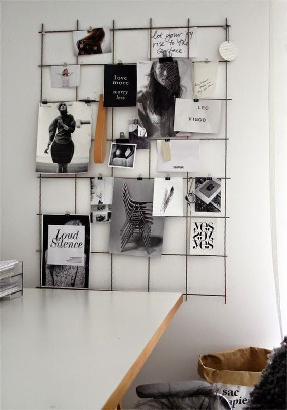 Black White Wire Wall Grid Wire Mesh Memo Board By Biletinshop Office Inspiration Work Space Room Inspiration