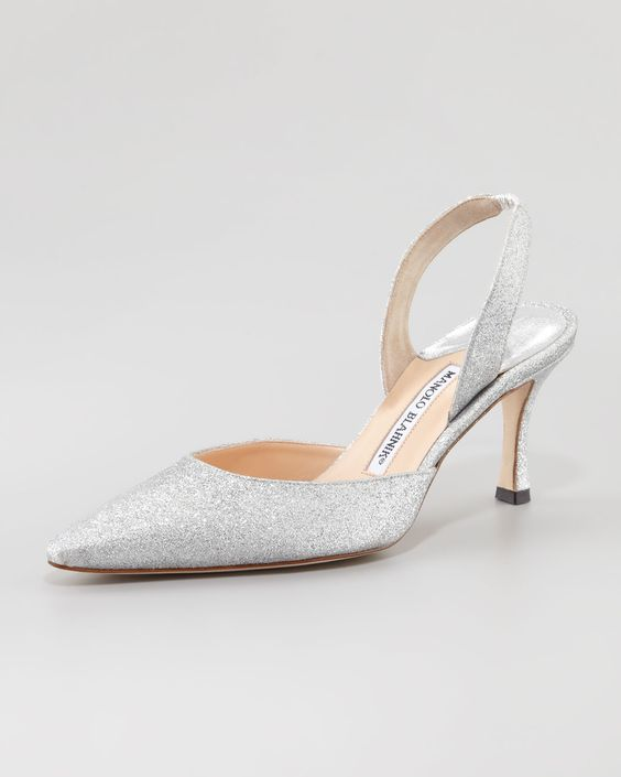 Carolyne&quot shoes in silver glitter with 3&quot heel &amp closed pointed