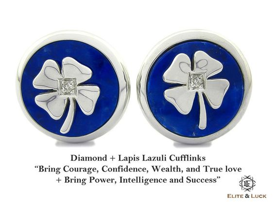 "Diamond + Lapis Lazuli Sterling Silver Cufflinks, Rhodium plated, Lucky Model ""Bring Courage, Confidence, Wealth, and True love + Bring Power, Intelligence and Success"" *** Combine 2 Gemstone Powers to double your LUCK ***"