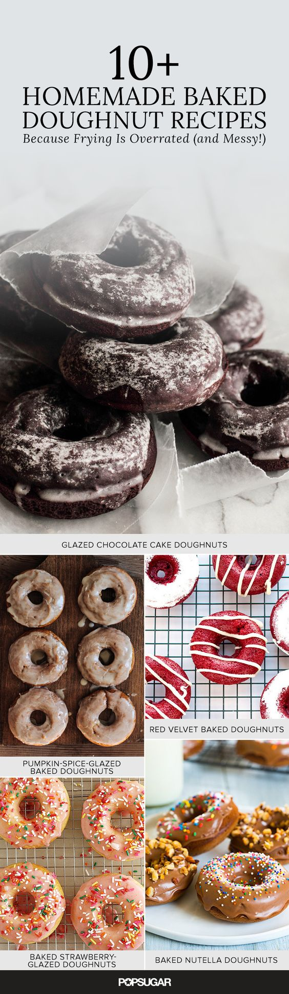 10+ Homemade Baked Doughnut Recipes (Because Frying is Overrated and Messy!) —ranging from red velvet to rhubarb poppyseed, these easy recipes satisfy