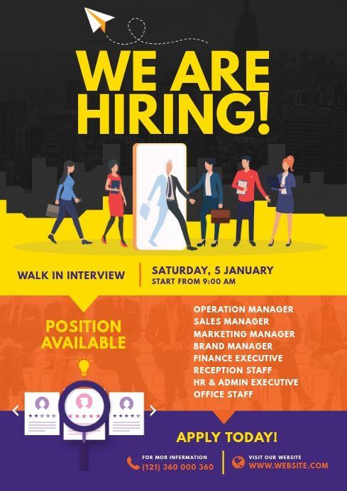 Job Vacancy Flyer Hiring Poster Recruitment Poster Design Job Opening