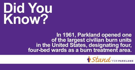 #DidYouKnow? 55 years ago, Parkland Hospital opened one of the largest civilian burn units in the United States. Today, Parkland is one of only 5 centers in Texas verified by the American Burn Association. www.IStandforParkland.org/burncenter