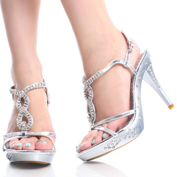 silver heels for prom | Silver Rhinestone Strappy Prom Dance ...
