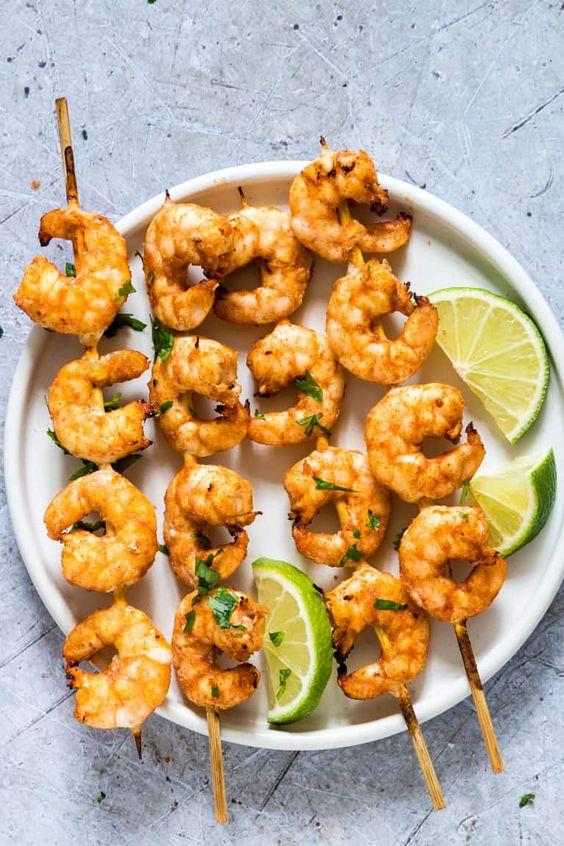 Air Fryer Cilantro Lime Shrimp Skewers
