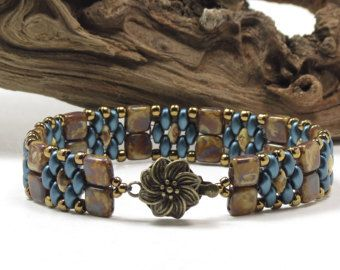 SUPERDUO HERRINGBONE BRACELET Turquoise by CinfulBeadCreations
