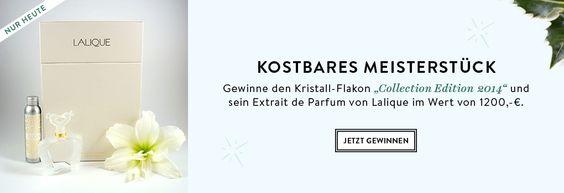 """""""The Beauty of Christmas""""-Gewinnspiel +++ nur am 20.November 2014 +++ Gewinne den Kristall-Flakon """"Collection Edition 2014"""" und sein Extrait de Parfum von Lalique im Wert von 1.200 Euro! Alles, was du dafür tun musst: Kommentiere am 20. November 2014 einen Lalique-Duft."""