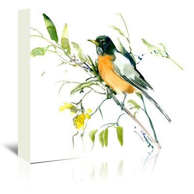"East Urban Home American Robin Painting Print on Wrapped Canvas Size: 20"" H x 24"" W x 1.5"" D"