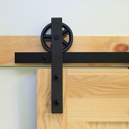 Homacer Double Sliding Barn Door Hardware Kit 11ft Track Black Wheel Design Black Rustic With Industrial Strengt Barn Door Barn Door Hardware Door Hardware