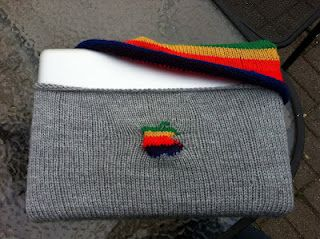 Knitted Laptop sleeve.  I wonder how long the apple took to get right?