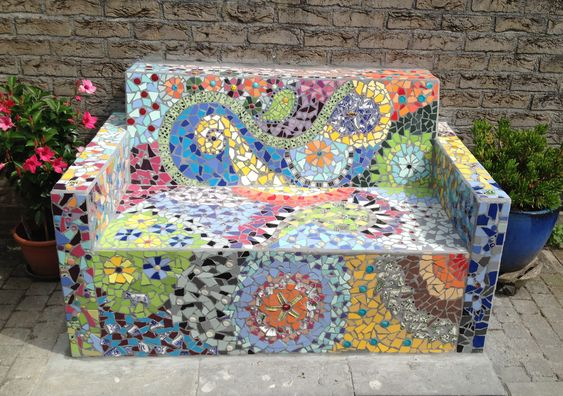 Mosaic bench. This mosaic bench is made by Ellen Brouwer and Ruud van 't Hul, The Netherlands.