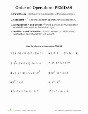 Printables Pemdas Practice Worksheet order of operations pemdas aunt fifth grade and articles