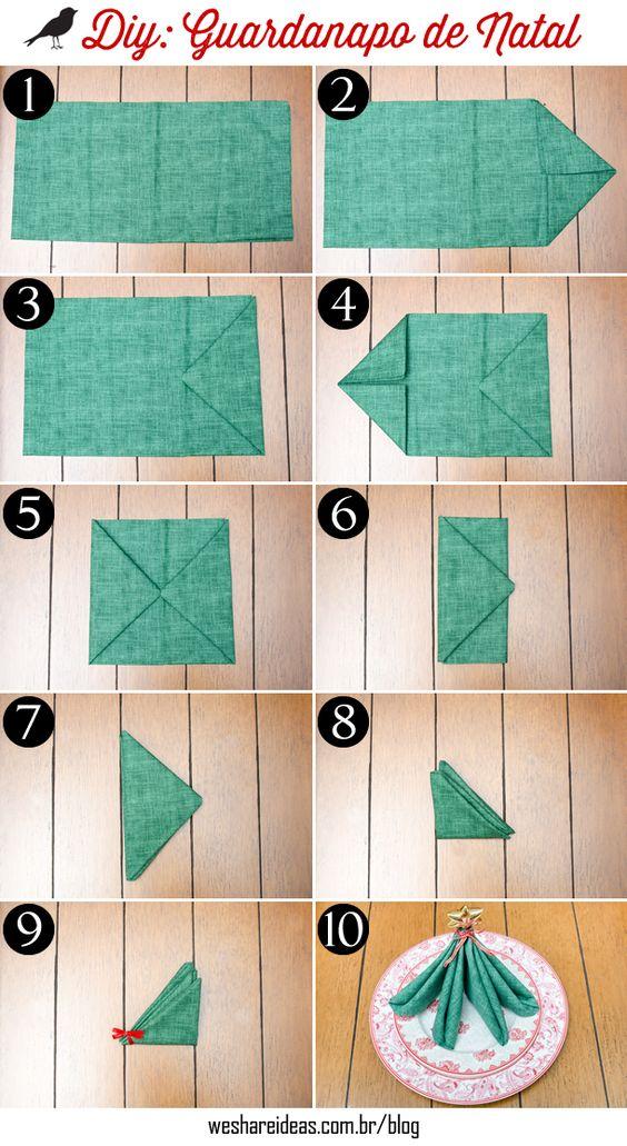 dobradura de guardanapo em forma de árvore de natal. Guardanapo de tecido verde com estrela dourada.: