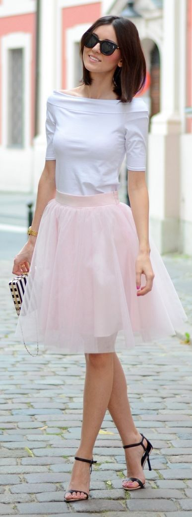 Mosquito Light Pink Midi Tulle A-skirt by Daisyline http://www ...