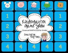 Kindergarten Game Show FREEBIE :: Includes ALL Common Core MATH standards | by Tiny Toes | $FREE