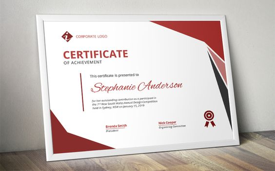 Modern MS Word certificate design by Inkpower on @creativemarket - creative certificate designs