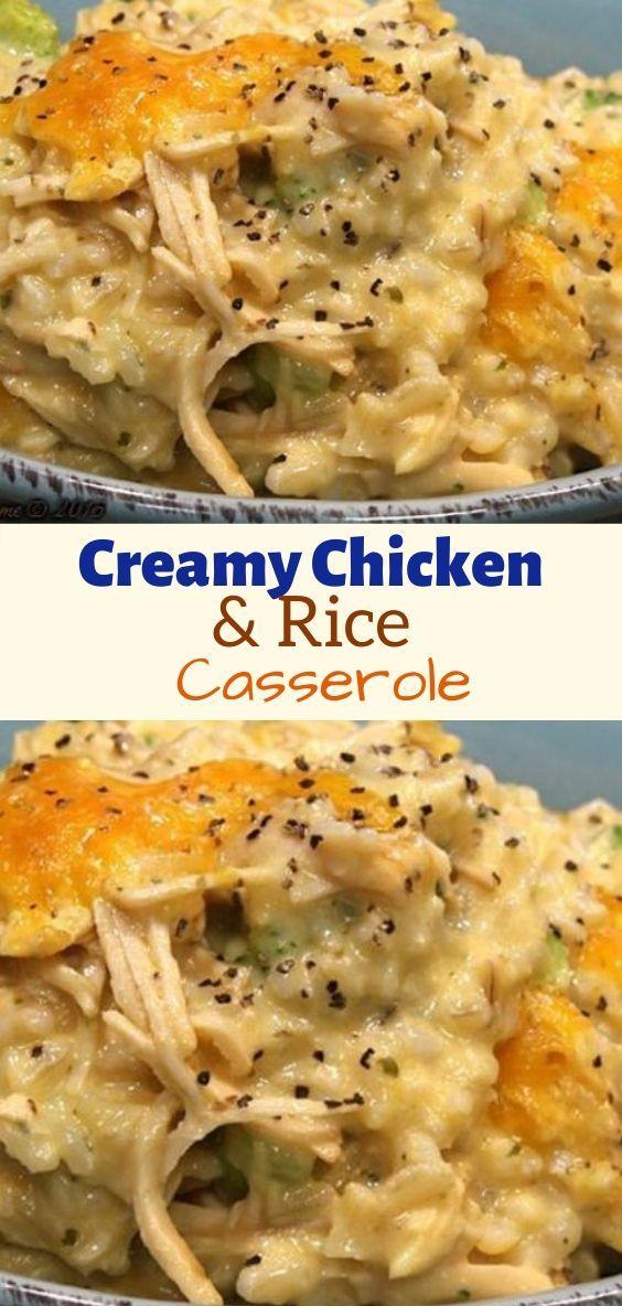 Creamy Chicken Rice Casserole Creamy Chicken And Rice Chicken Recipes Casserole Easy Chicken And Rice